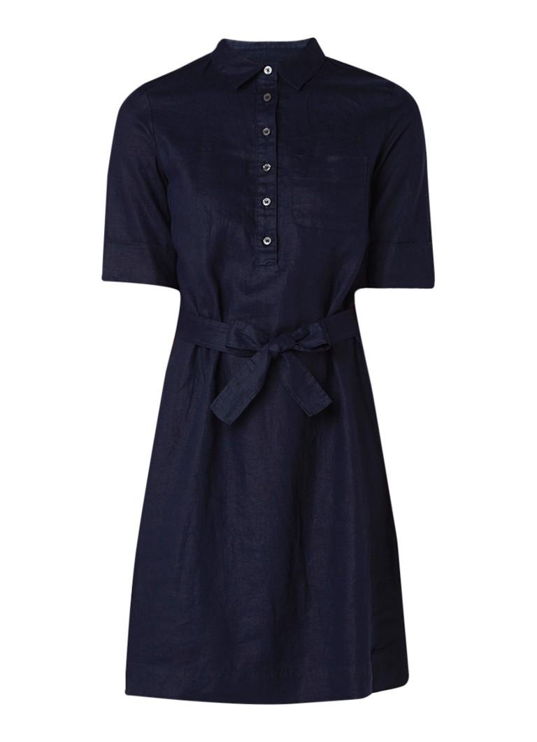 Benetton Blousejurk van linnen met strikceintuur donkerblauw