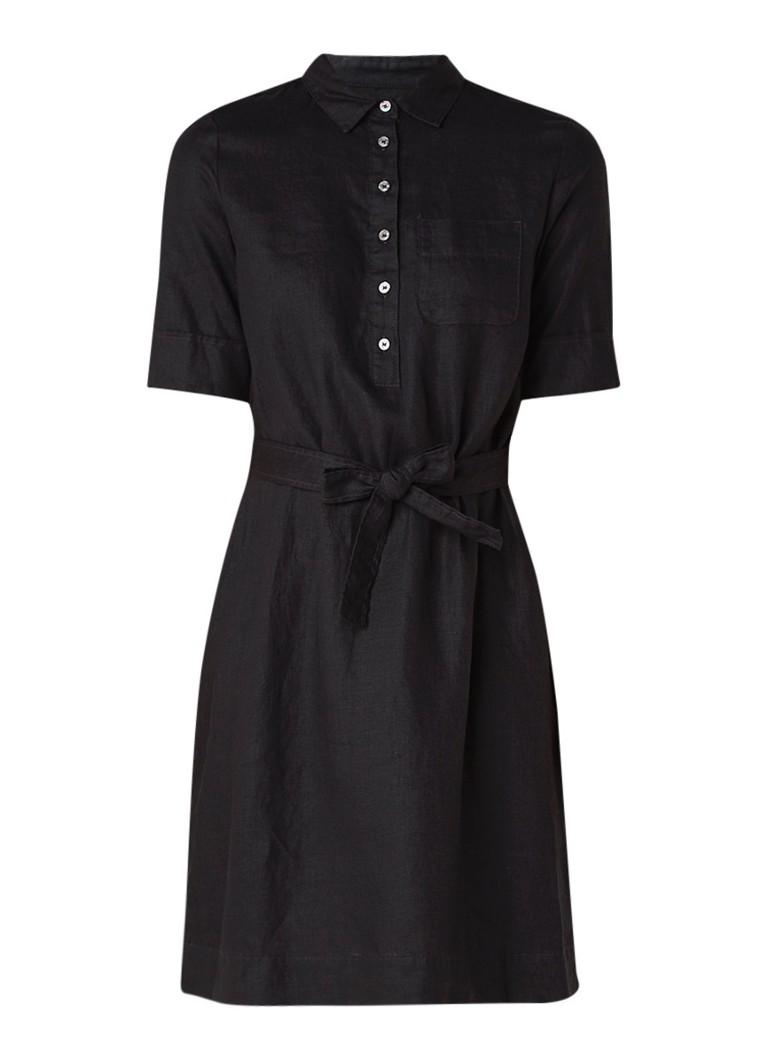 Benetton Blousejurk van linnen met strikceintuur zwart