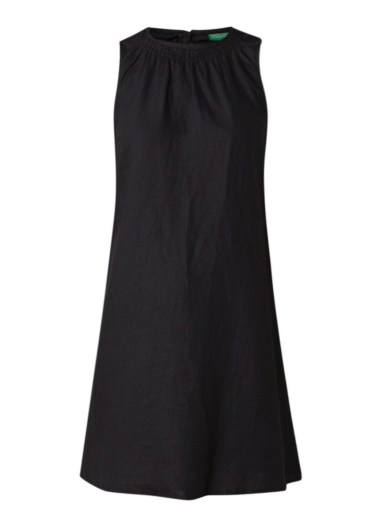 Benetton Mouwloze A-lijn jurk van linnen zwart