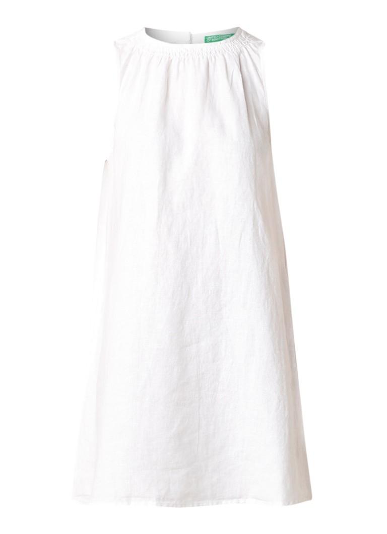 Benetton Mouwloze A-lijn jurk van linnen wit