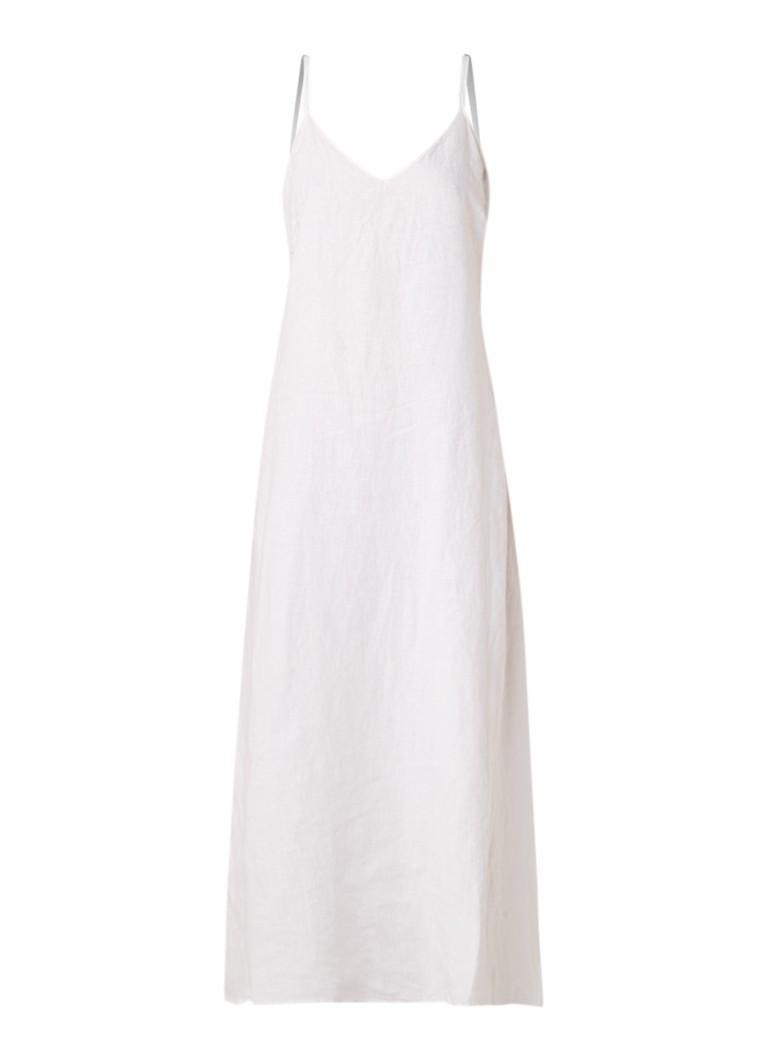 Benetton Maxi-jurk van linnen met spaghettibandjes wit