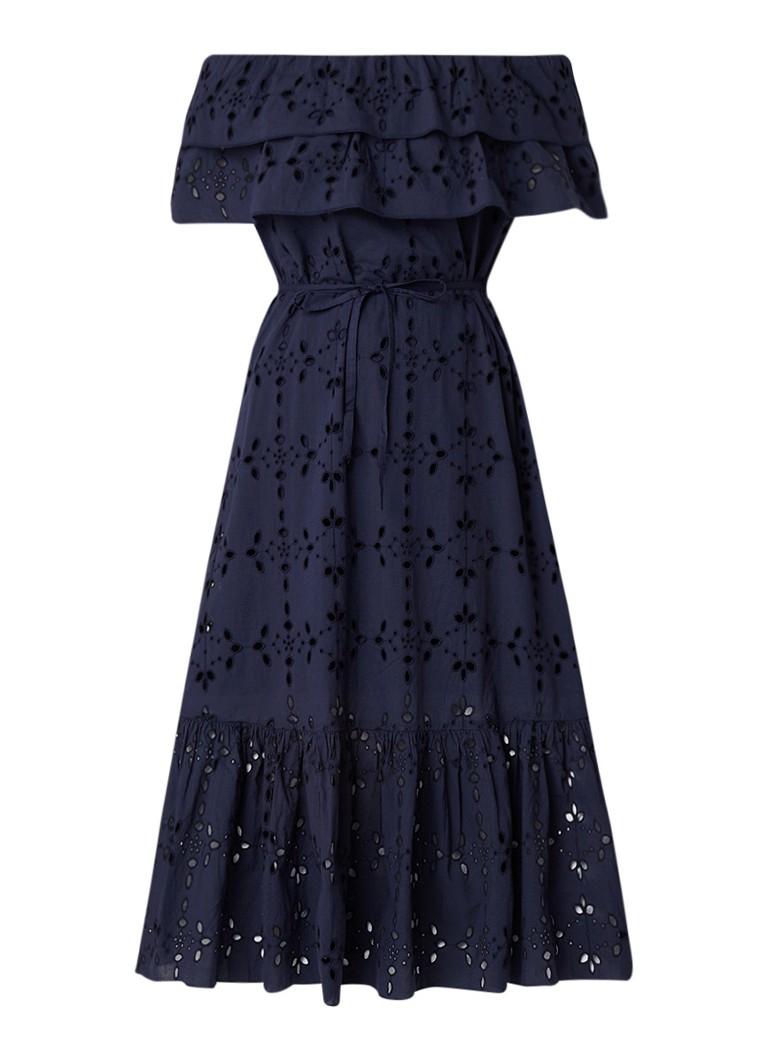 Benetton Off shoulder A-lijn jurk van broderie donkerblauw