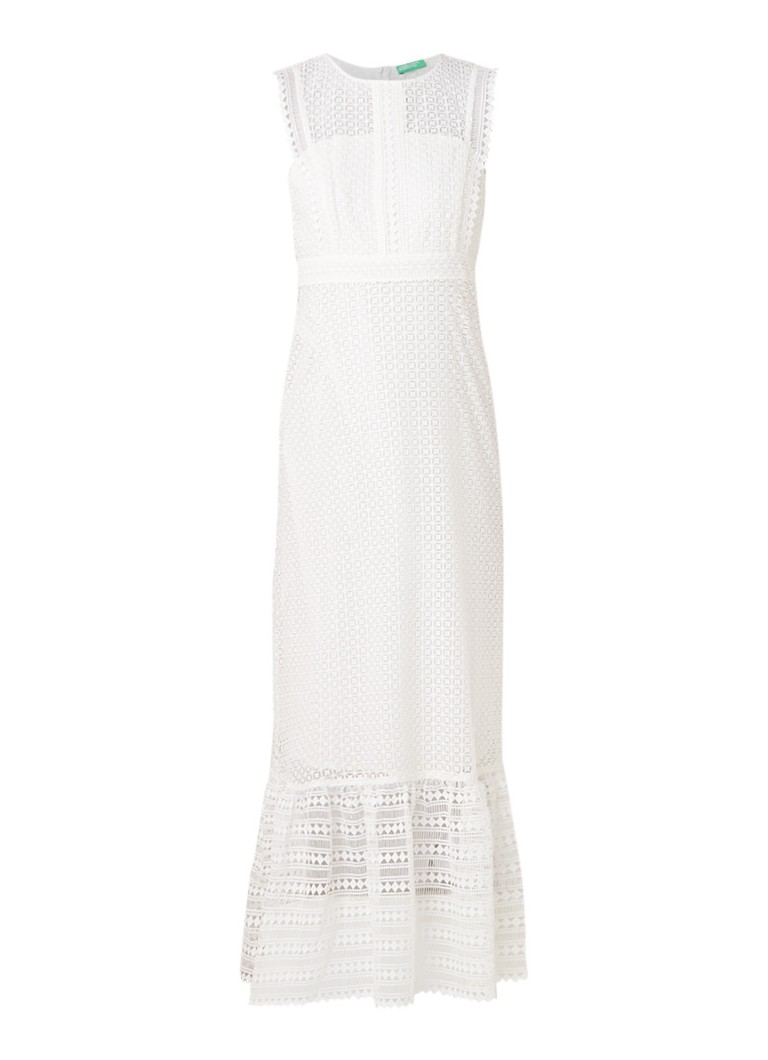Benetton Maxi-jurk van broderiekant wit
