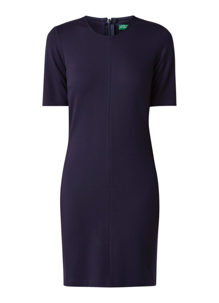 Benetton Midi-jurk van jersey met siernaden donkerblauw