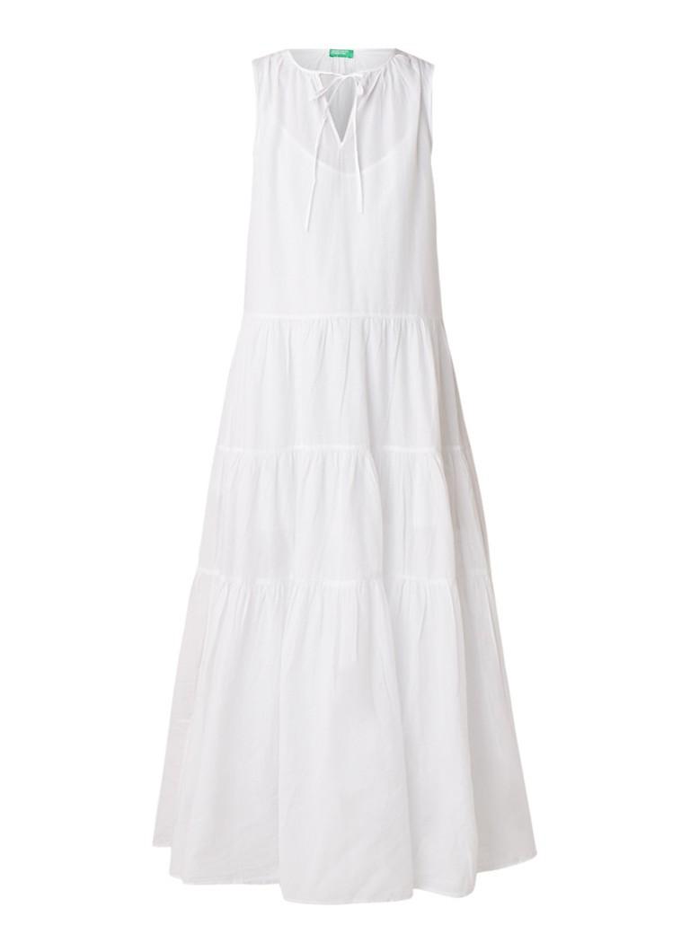 Benetton Maxi-jurk van katoen met V-hals wit