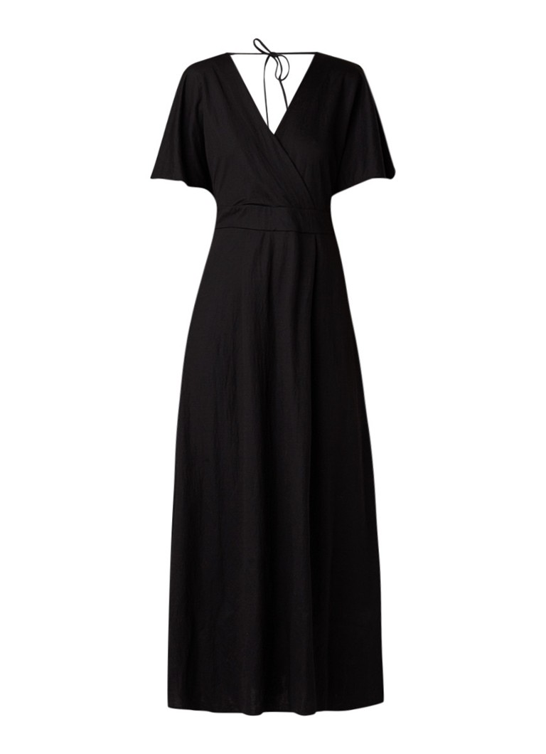 Benetton Maxi-jurk met split en rugdecolleté zwart