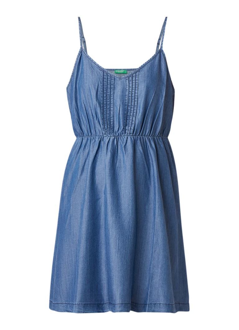 Benetton Mini-jurk van chambray met plooidetails blauw
