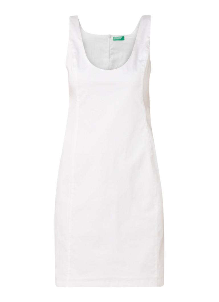 Benetton Mini-jurk van stretchkatoen met deelnaden wit