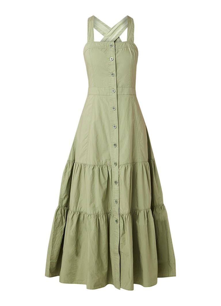 Benetton Maxi-jurk van katoen met knoopsluiting olijfgroen