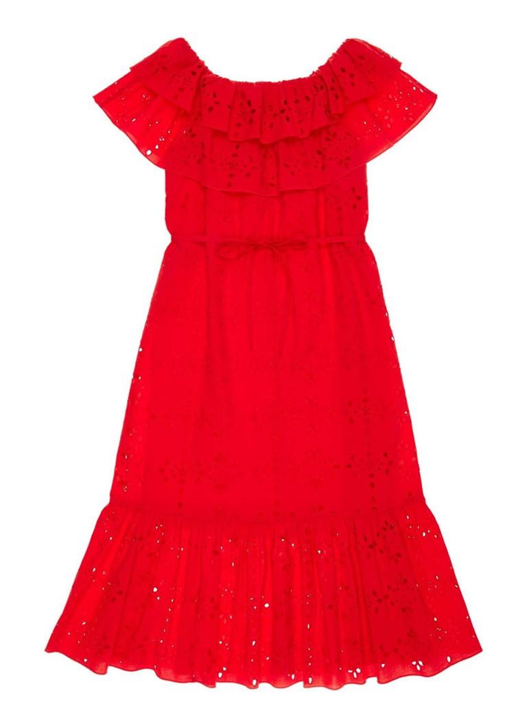Benetton Off shoulder A-lijn jurk van broderie rood