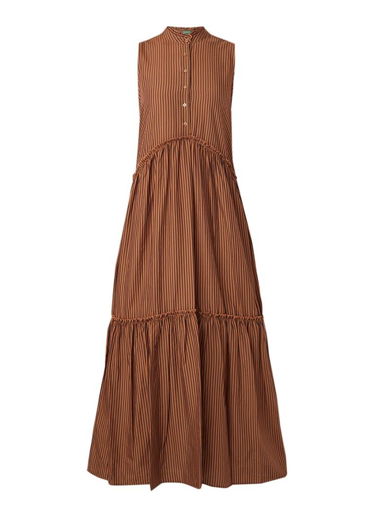 Benetton Maxi-jurk met streepdessin en ruches bruin