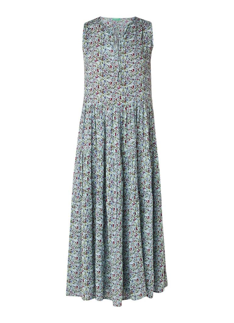 Benetton Maxi-jurk met bloemendessin lichtgroen