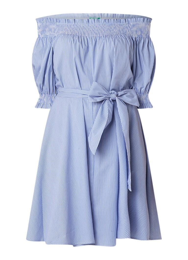 Benetton Off shoulder jurk met streepdessin en strikceintuur lichtblauw
