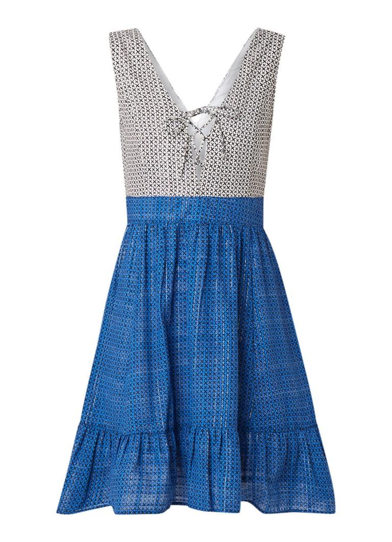 Benetton A-lijn jurk met dessin en lurex blauw