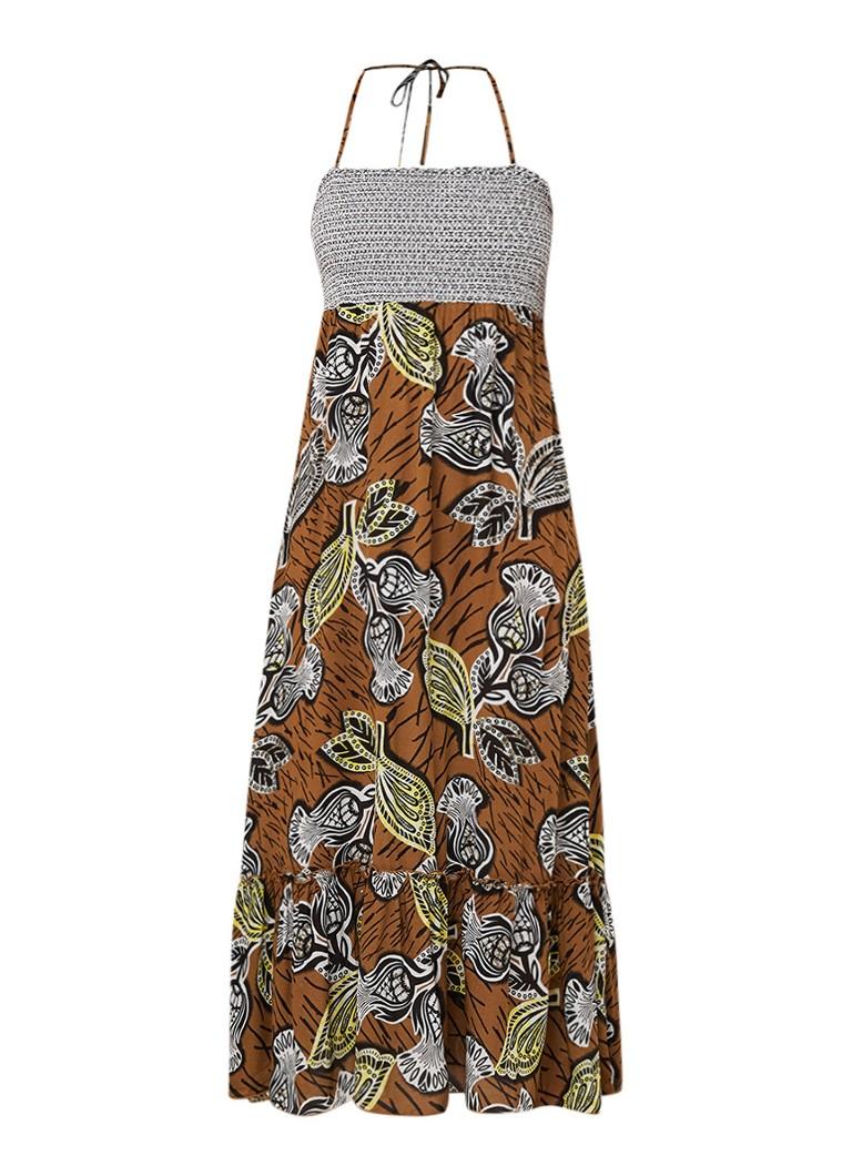 Benetton Off shoulder maxi-jurk met dessin bruin