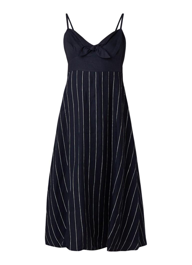 Benetton Midi-jurk van linnen met strikdetail donkerblauw