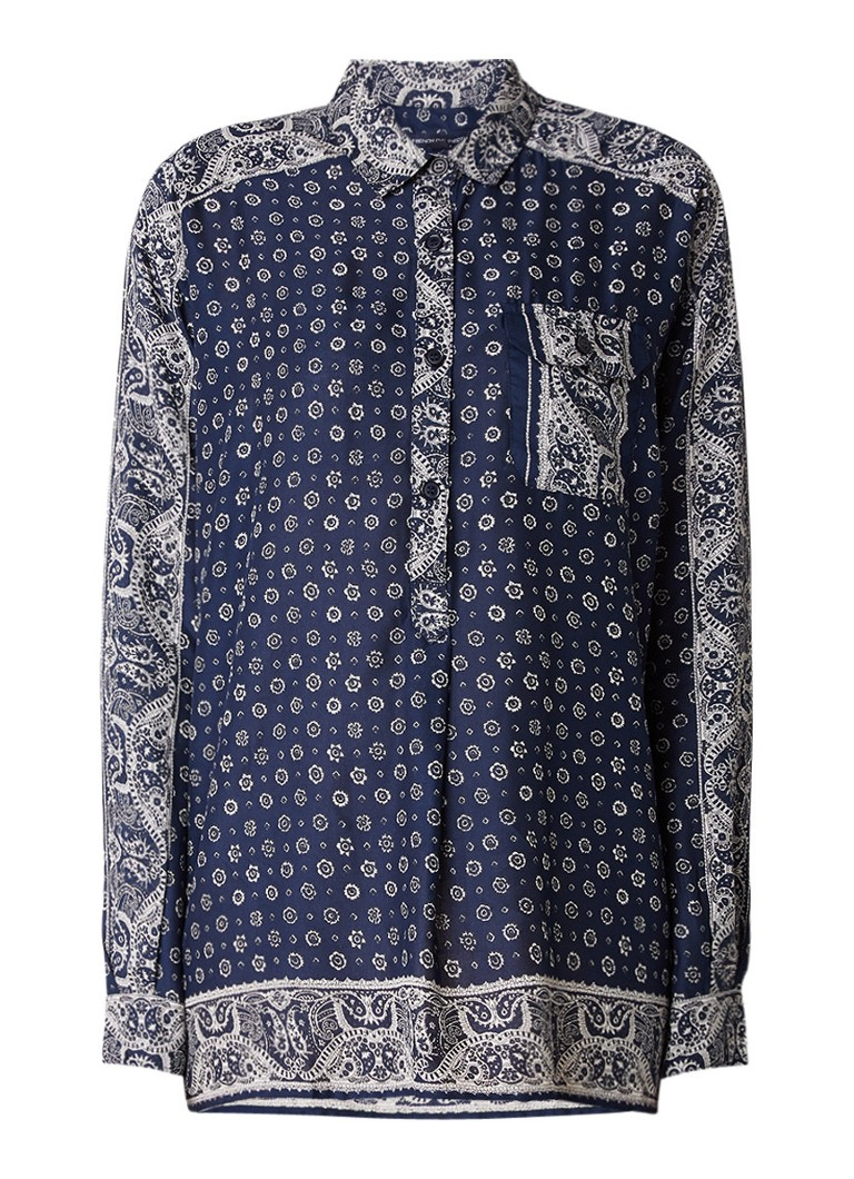 French Connection Altman tuniek met print en borstzak grijs