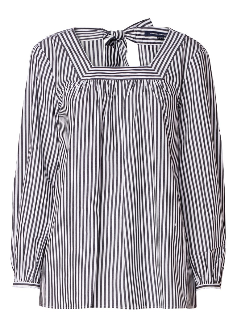 French Connection Sardinia loose fit gestreepte blouse met rugdecolleté