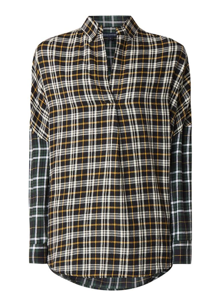 French Connection Este oversized blouse met contrasterend geruit dessin