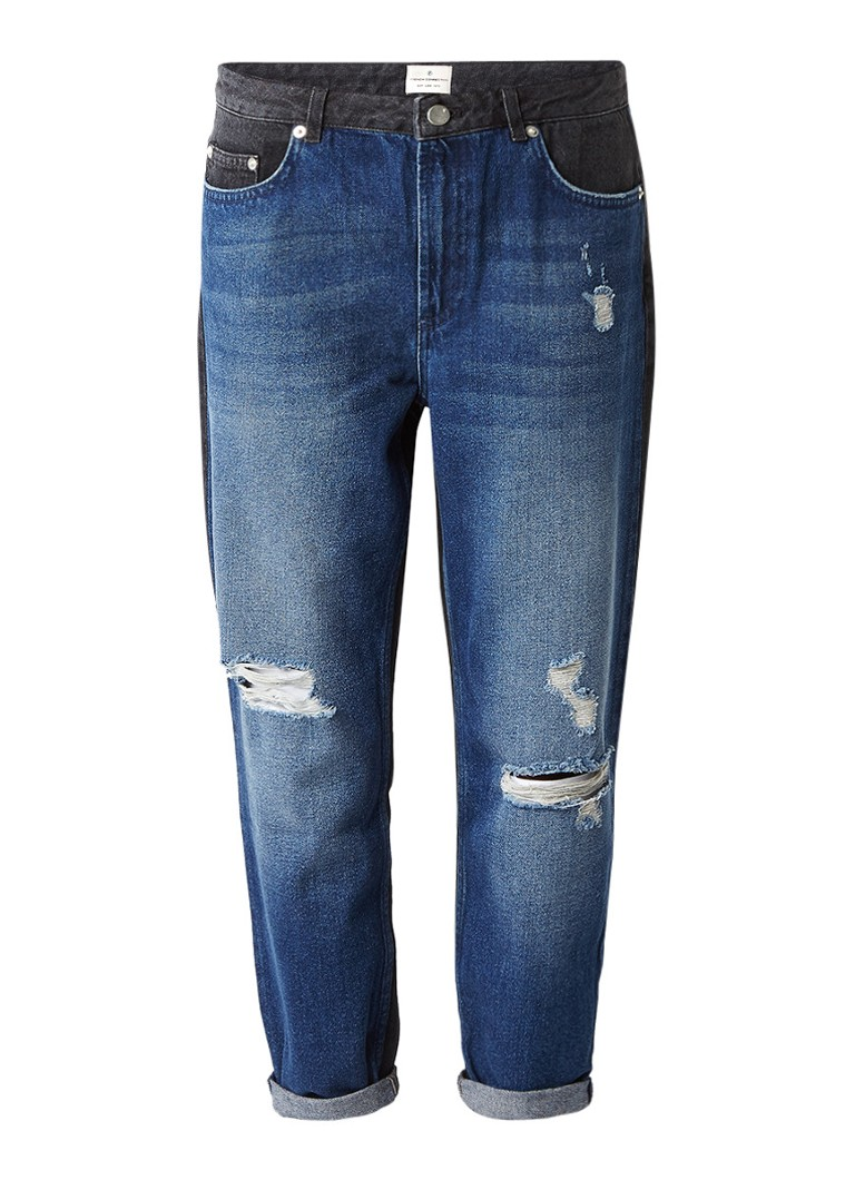 French Connection Indi mid rise boyfriend jeans met contrast