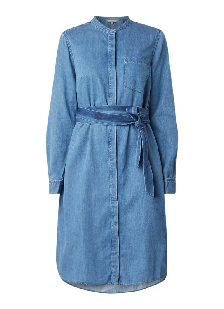 French Connection Leondra blousejurk van denim met strikceintuur indigo