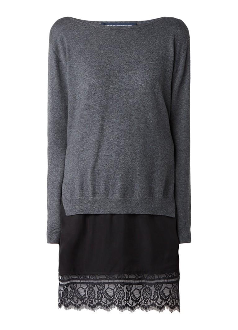 French Connection Fijngebreide trui-jurk met inzet van kant donkergrijs