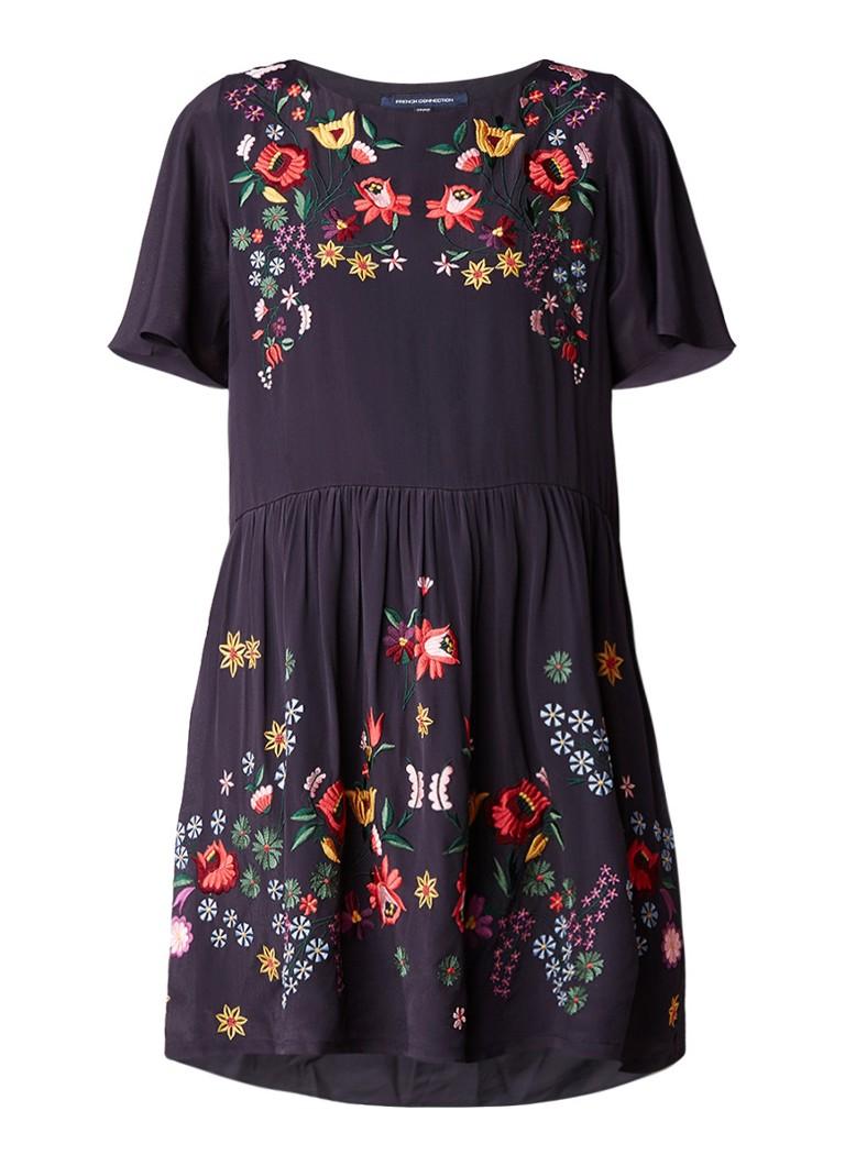 French Connection Alice A-lijn jurk met geborduurd bloemendessin donkerblauw