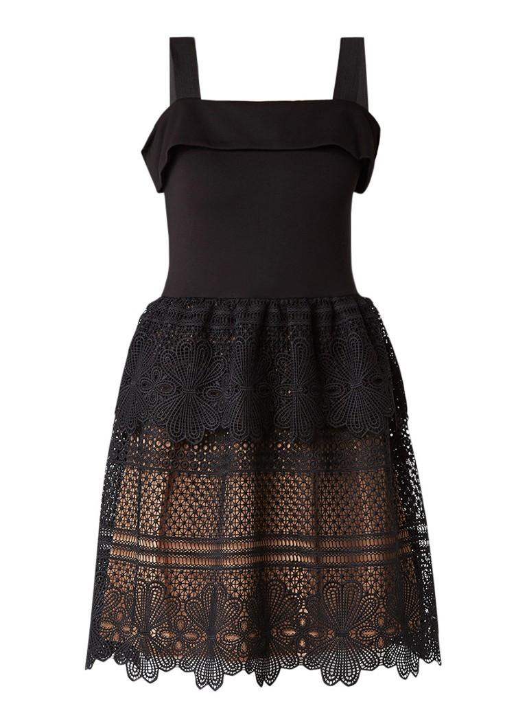 French Connection Amelia A-lijn jurk met onderzijde van kant zwart