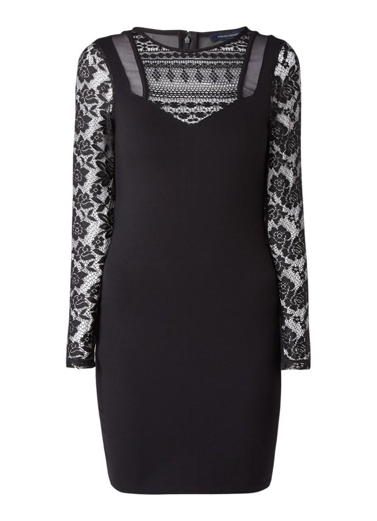French Connection Mia Beau mini-jurk met inzet van kant zwart