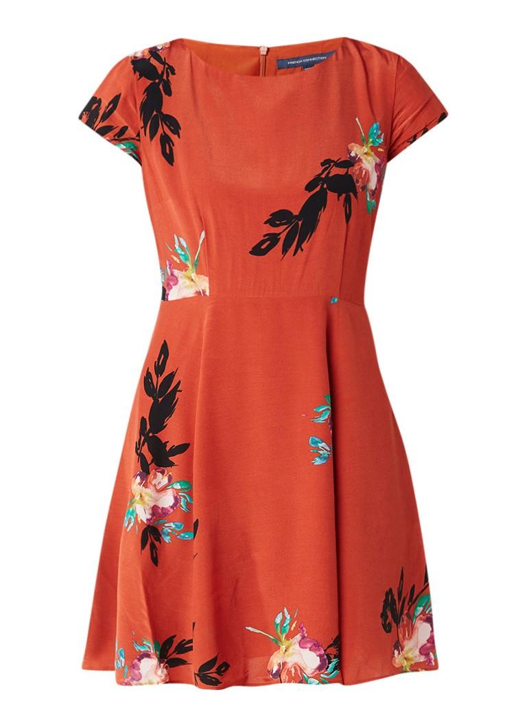 French Connection Delphine A-lijn jurk met gebloemd dessin oranjerood