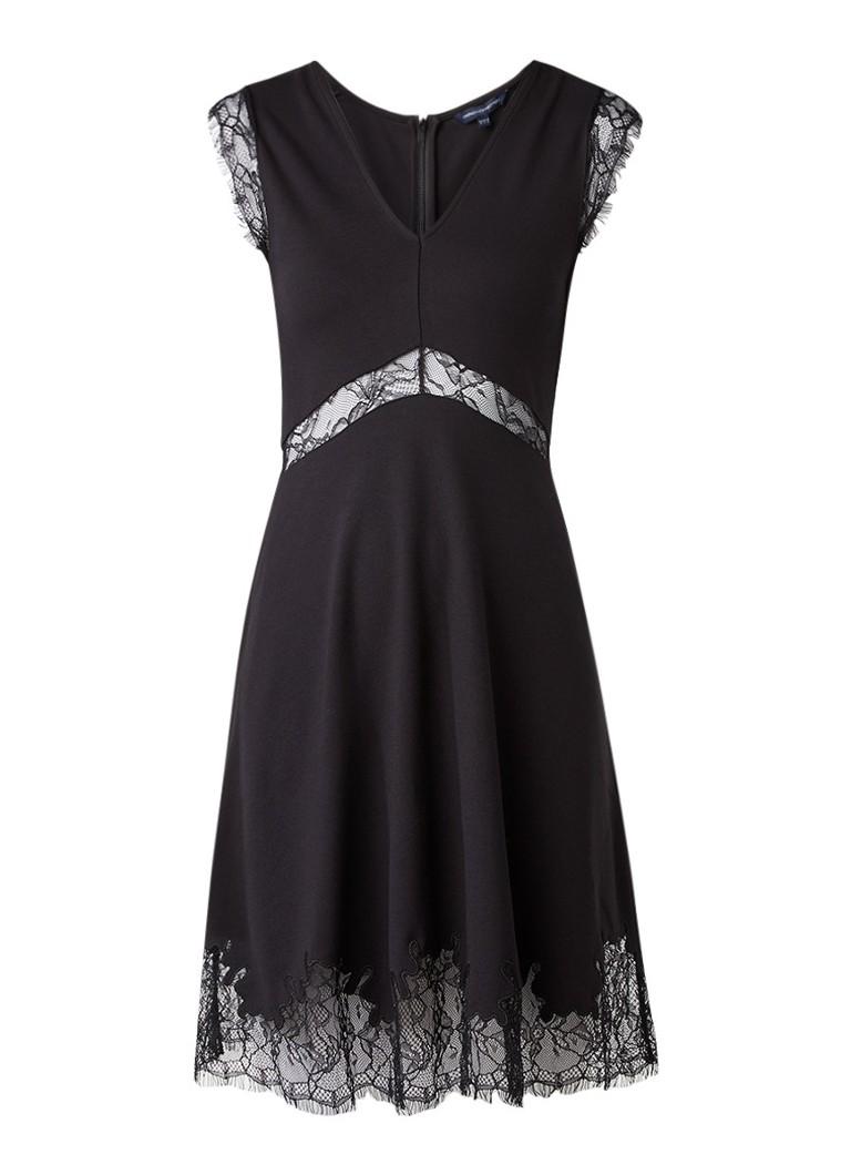 French Connection Lora jurk van jersey met gebloemd kant zwart