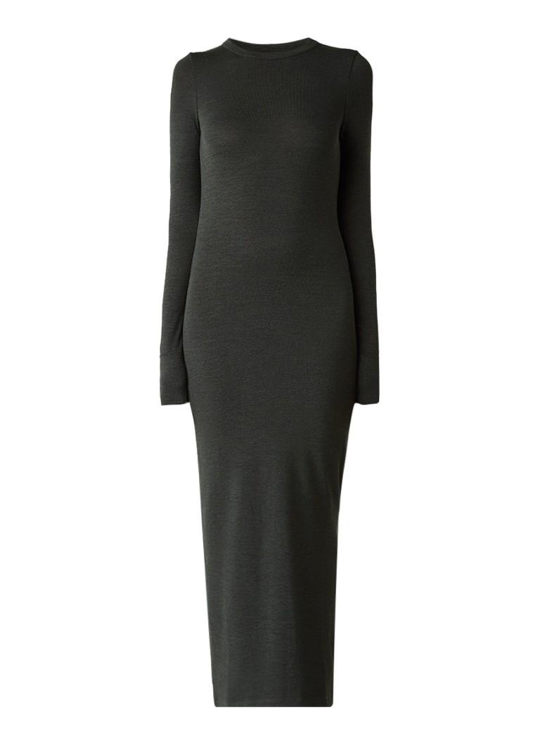 French Connection Fijngebreide maxi-jurk met zijsplit donkergroen