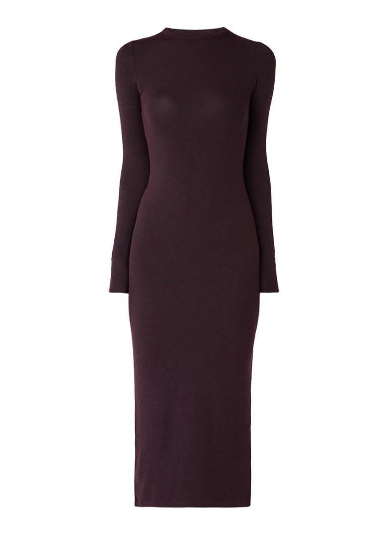 French Connection Fijngebreide maxi-jurk met zijsplit aubergine