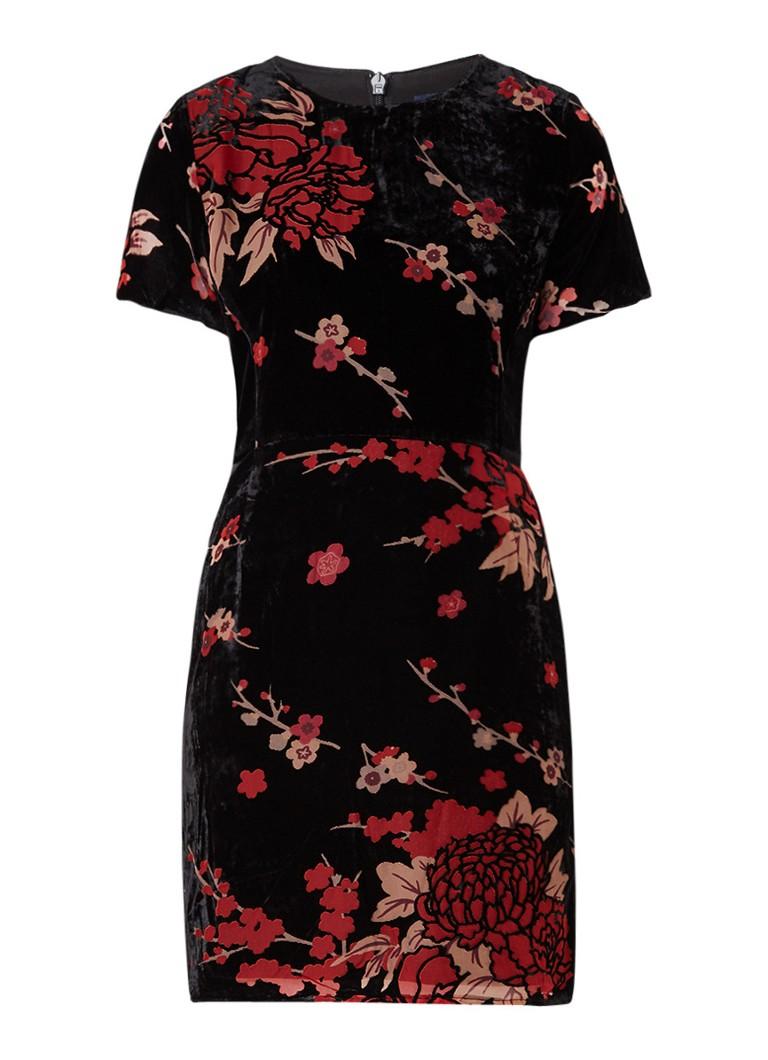 French Connection Wilma A-lijn jurk van fluweel met bloemendessin zwart