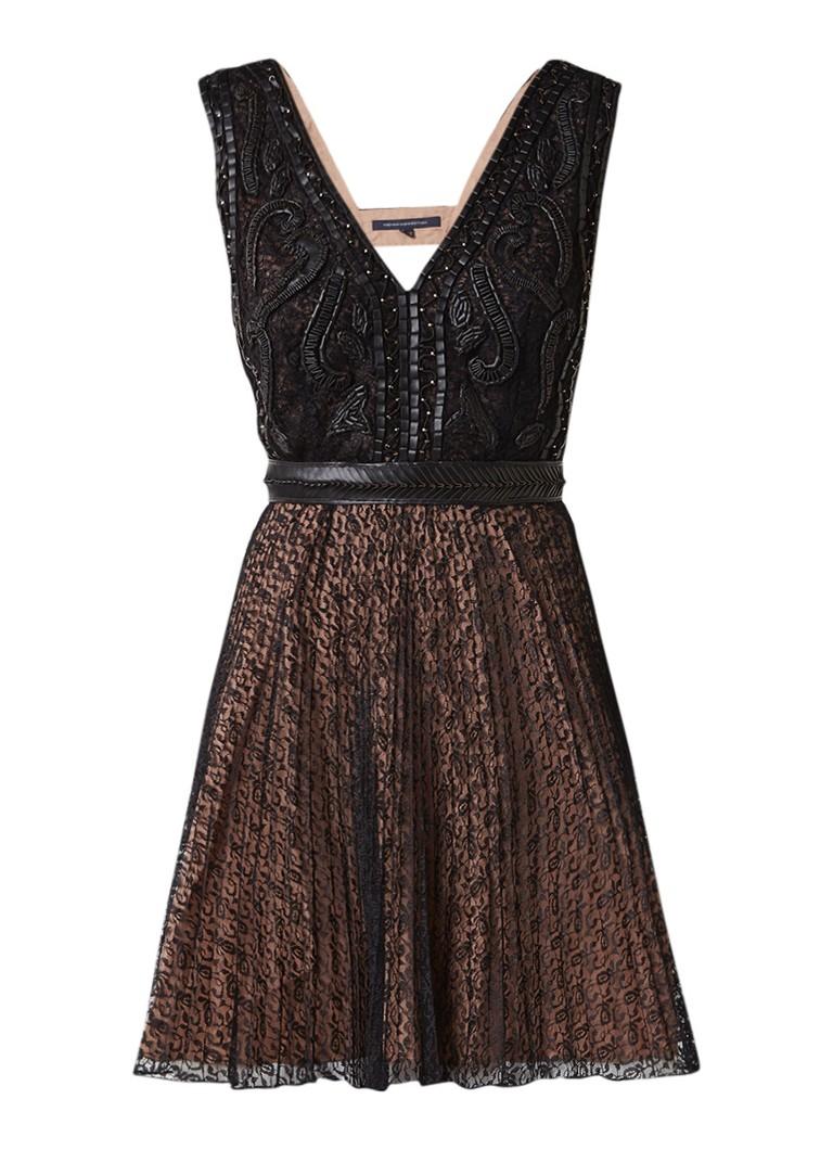 French Connection Florence A-lijn jurk van kant met detail van imitatieleer zwart