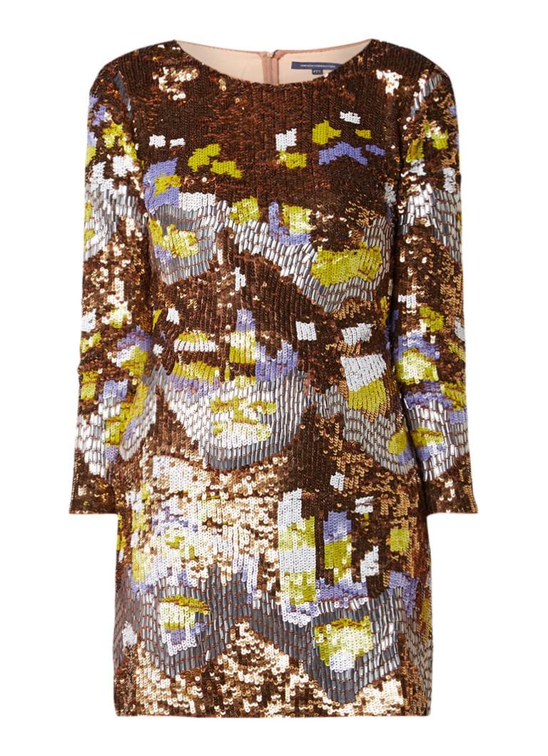 French Connection Zelda mini-jurk met pailletten goud