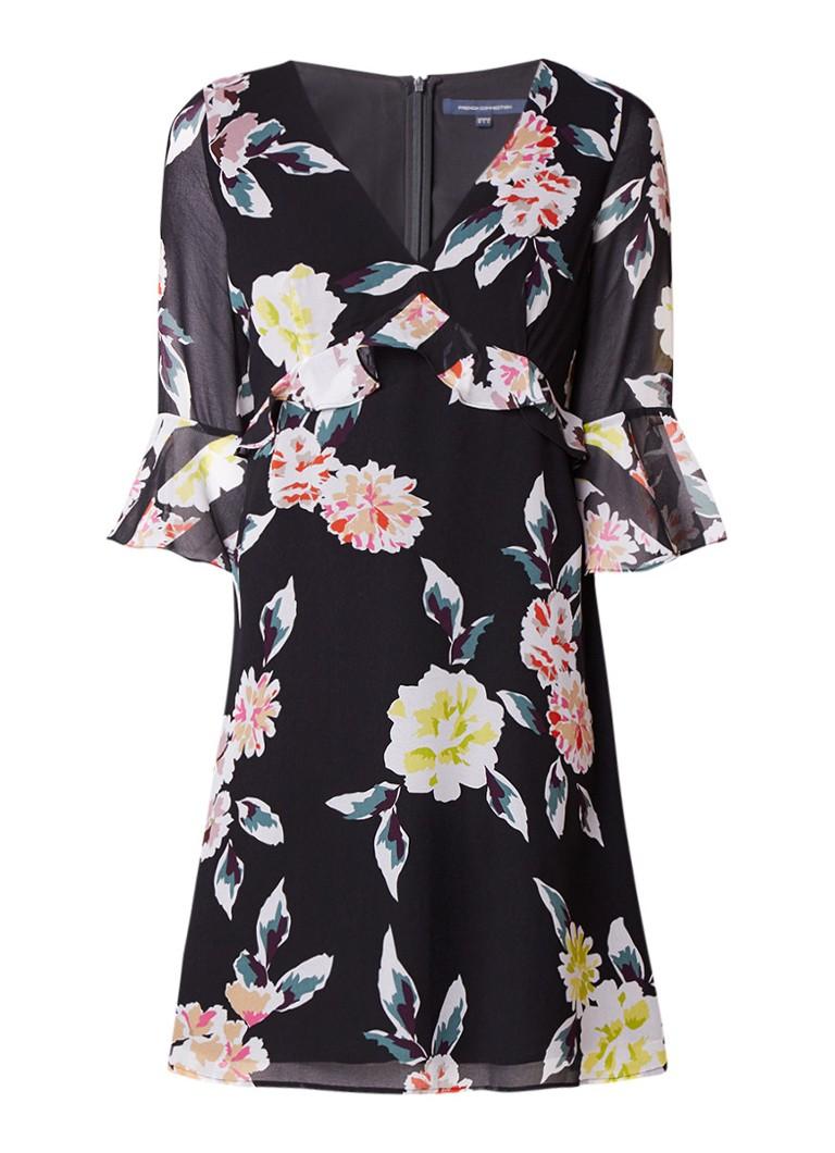French Connection Enoshima A-lijn jurk met volant en bloemendessin zwart