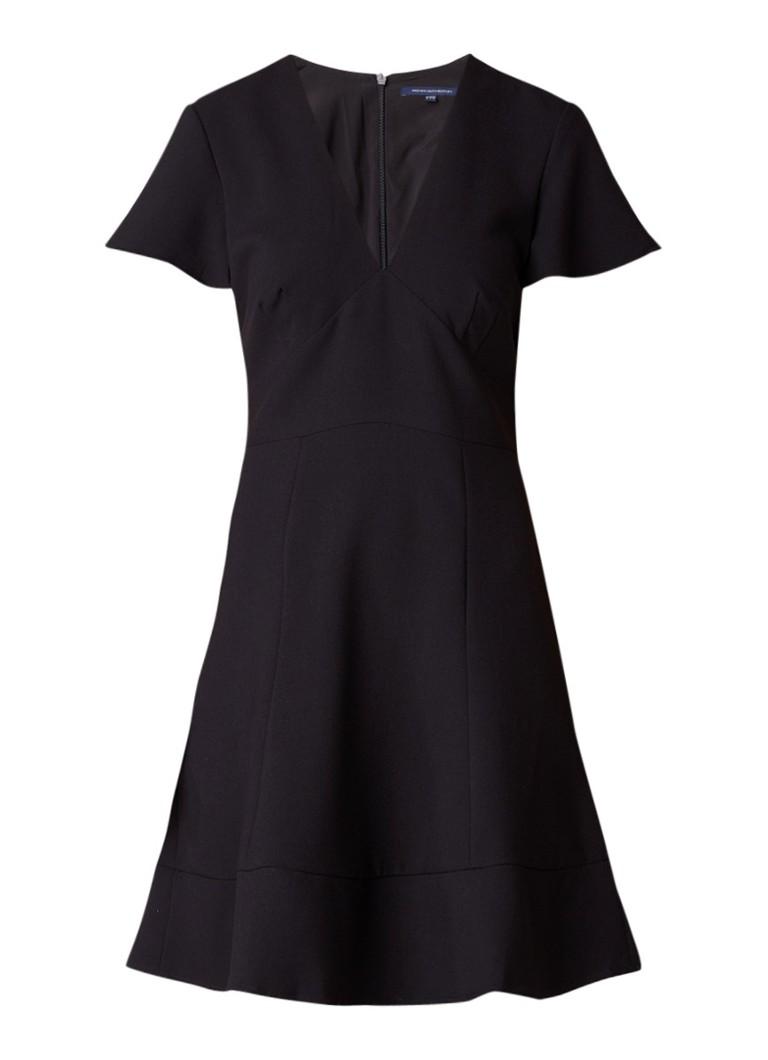 French Connection Whisper A-lijn jurk met uitlopende mouw zwart