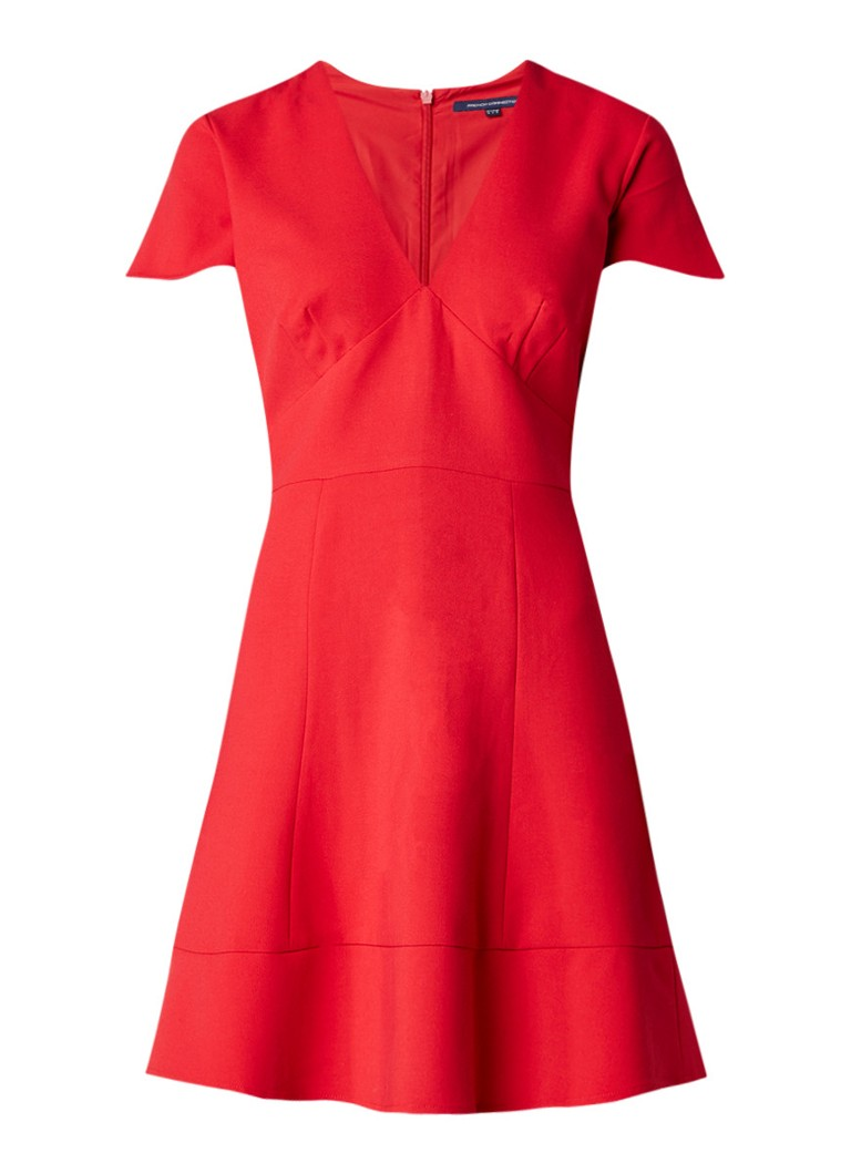 French Connection Whisper A-lijn jurk met uitlopende mouw rood