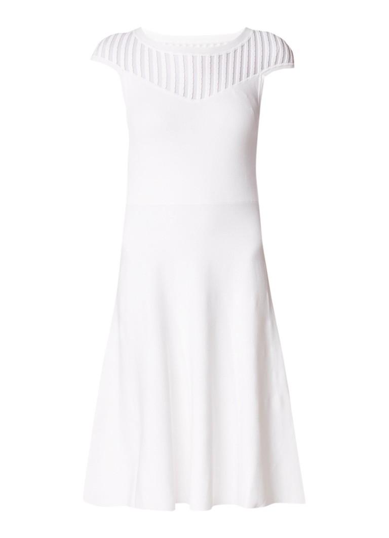 French Connection A-lijn jurk met contrast en detail van mesh wit