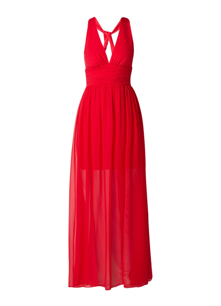 French Connection Maxi halterjurk van jersey met chiffon overlay rood