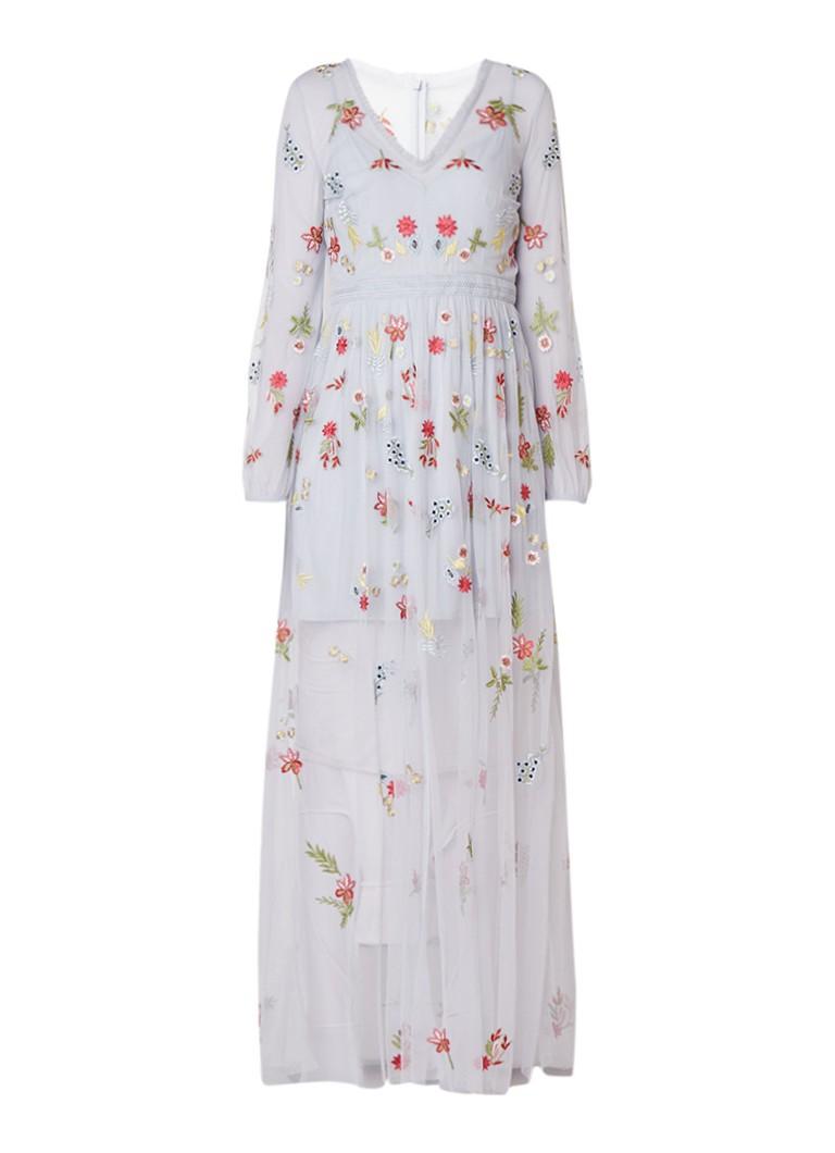 French Connection Christy maxi-jurk van tule met geborduurde bloemenborduring lichtblauw