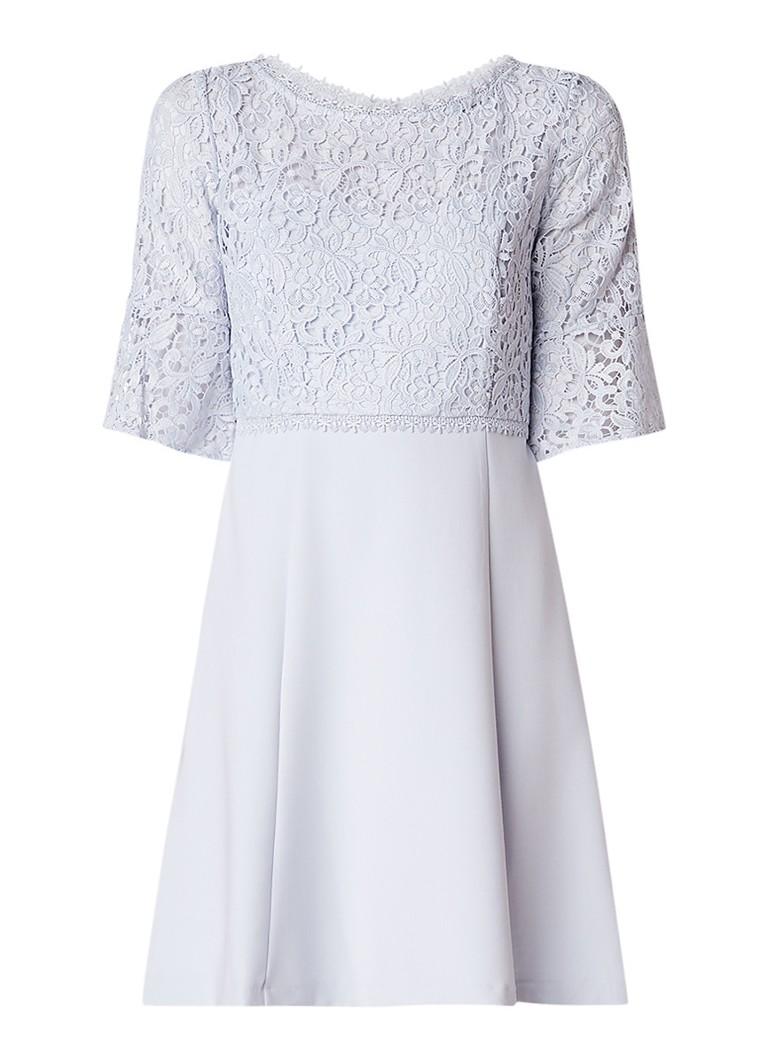 French Connection Ruth A-lijn jurk met inzet van kant lichtblauw