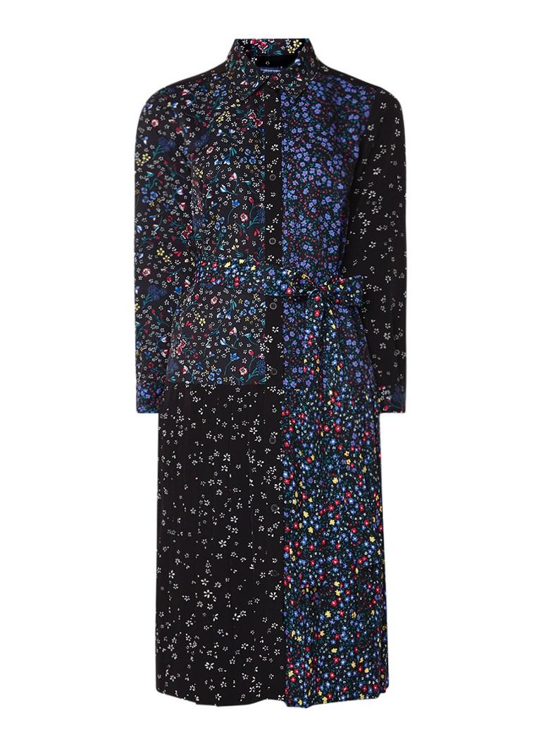 French Connection Midi blousejurk met gecombineerd bloemendessin zwart