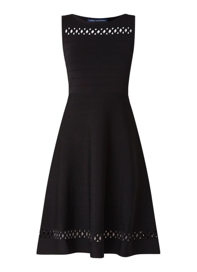 French Connection Kai fijngebreide A-lijn jurk met opengewerkte details zwart