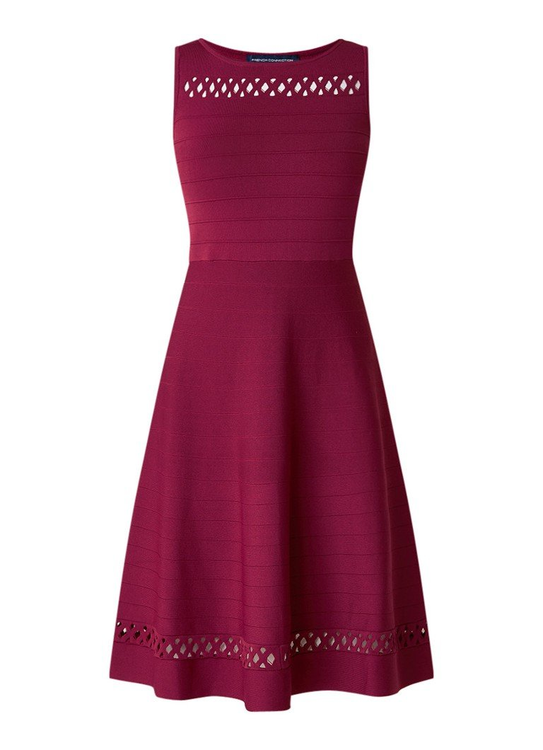 French Connection Kai fijngebreide A-lijn jurk met opengewerkte details donkerroze