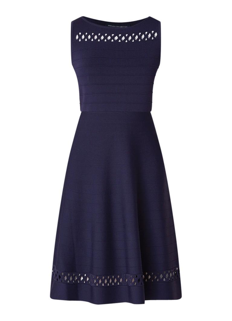 French Connection Kai fijngebreide A-lijn jurk met opengewerkte details donkerblauw