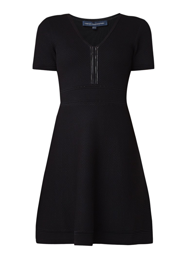 French Connection Ellie A-lijn jurk van jersey met ingebreide structuur zwart