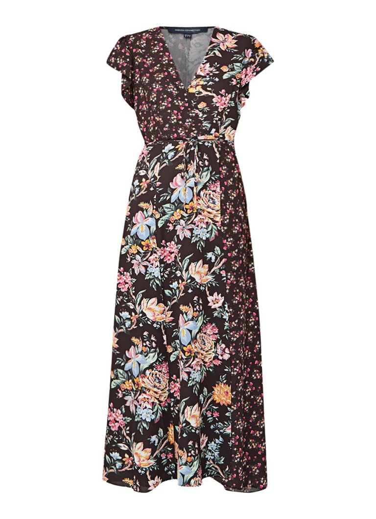 French Connection Bridget maxi-jurk met overslag en bloemendessin multicolor