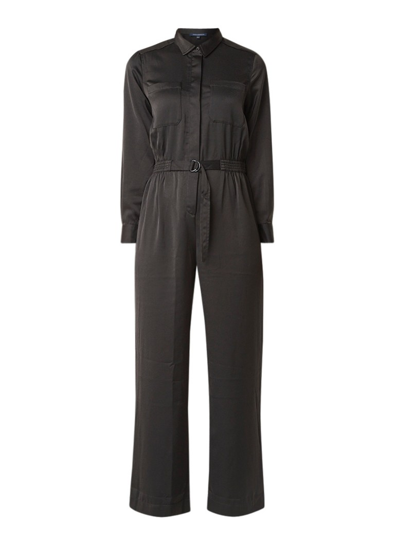 French Connection Enid loose fit jumpsuit van gladgeweven crêpe